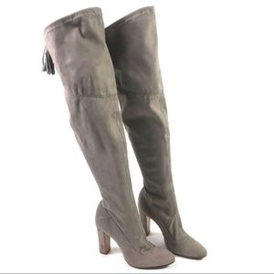 New! Schutz Tan Fabric Over the Knee Boots Size 10